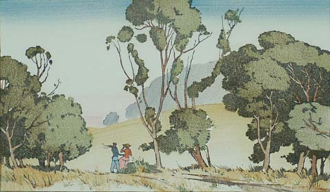California Landscape with Two Figures - RICHMOND IRWIN KELSEY - woodcut printed in colors
