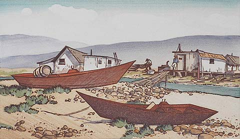 Shore Scene with Fishing Boats - RICHMOND IRWIN KELSEY - woodcut printed in colors
