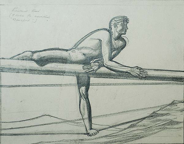 Bowsprit - ROCKWELL KENT - pencil on tracing paper