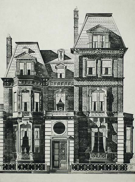Marlborough Street Mansion (Boston) - LAWRENCE KUPFERMAN - drypoint