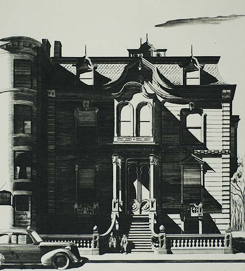 Victorian Mansion (Boston) - LAWRENCE KUPFERMAN - drypoint