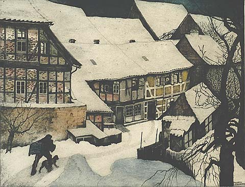 A Village Covered in Snow - MAURICE LANGASKENS - etching and aquatint printed in colors