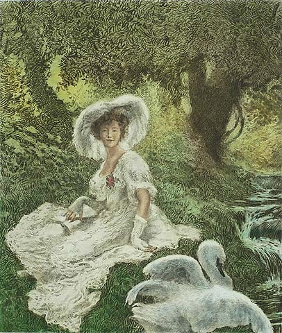 Lady and the Swan - GASTON LA TOUCHE - etching, roulette and drypoint printed in colors