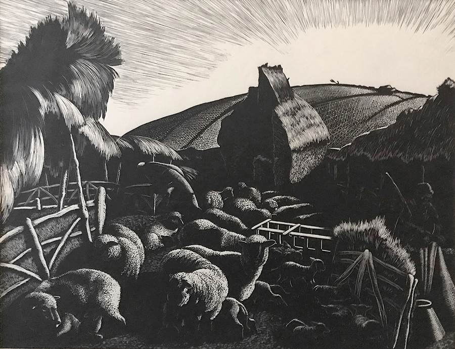 Lambing - CLARE LEIGHTON - wood engraving on cream-colored Japanese paper