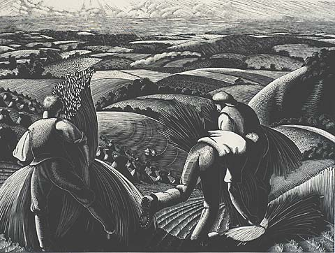 Stooking: August - CLARE LEIGHTON - Wood Engraving