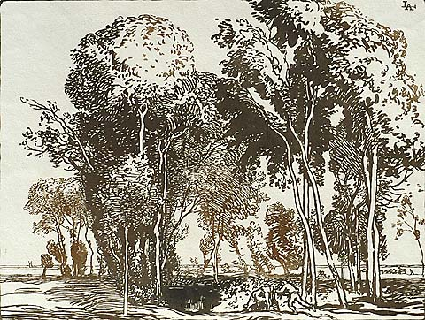 L'Abreuvoir - AUGUSTE LEPERE - woodcut printed in two shades of brown
