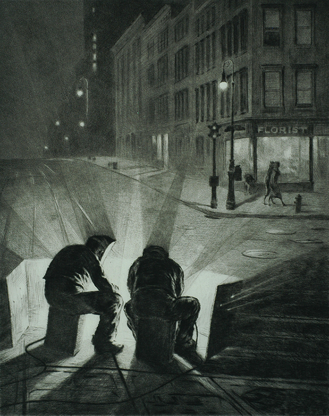 Arc Welders at Night - MARTIN LEWIS - drypoint and sand ground