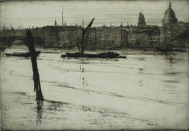 Low Tide (London) - ERNEST S. LUMSDEN - etching
