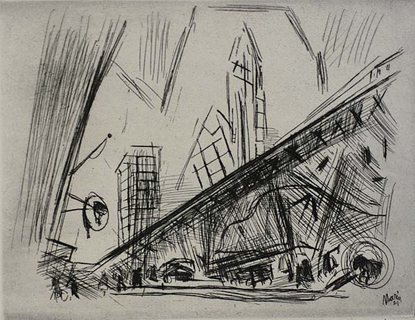 Downtown, The El - JOHN MARIN - etching