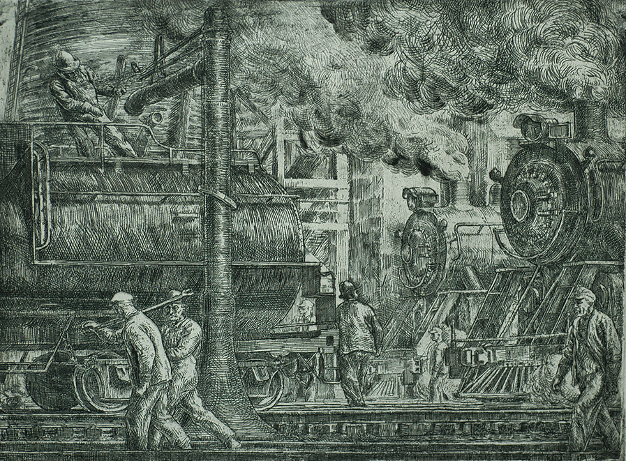 Erie R. R. Locos Watering - REGINALD MARSH - etching with touches of drypoint