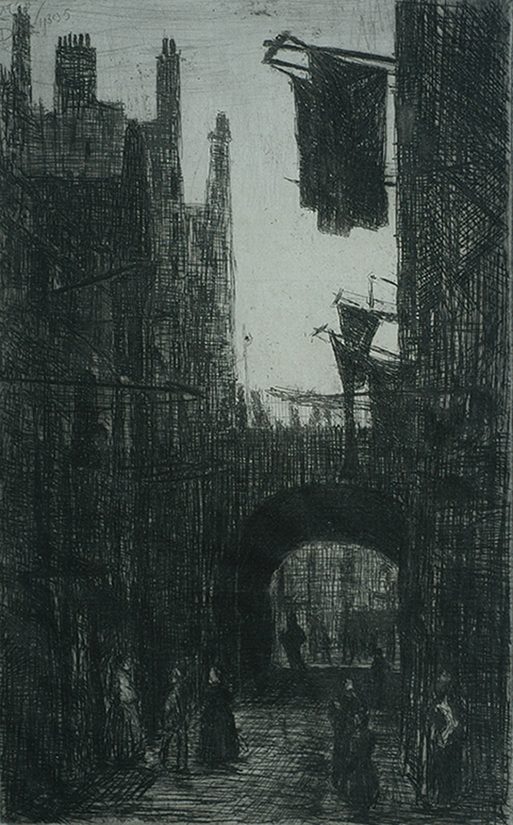 The Cowgate, Edinburgh - JAMES MCBEY - etching