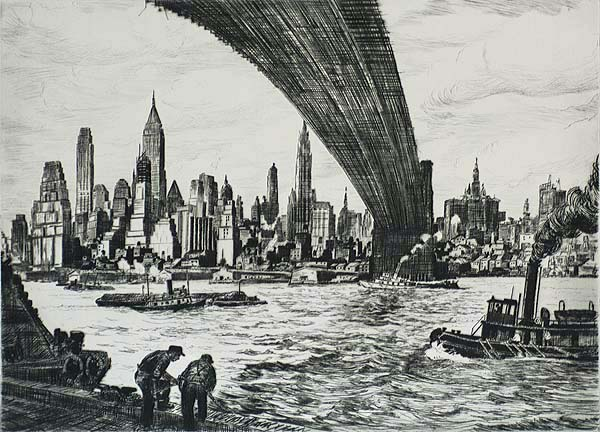 Under Brooklyn Bridge - WILLIAM MCNULTY - drypoint