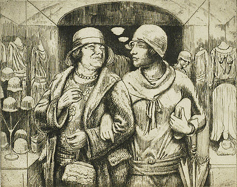 Leaving the Shop - KENNETH HAYES MILLER - etching