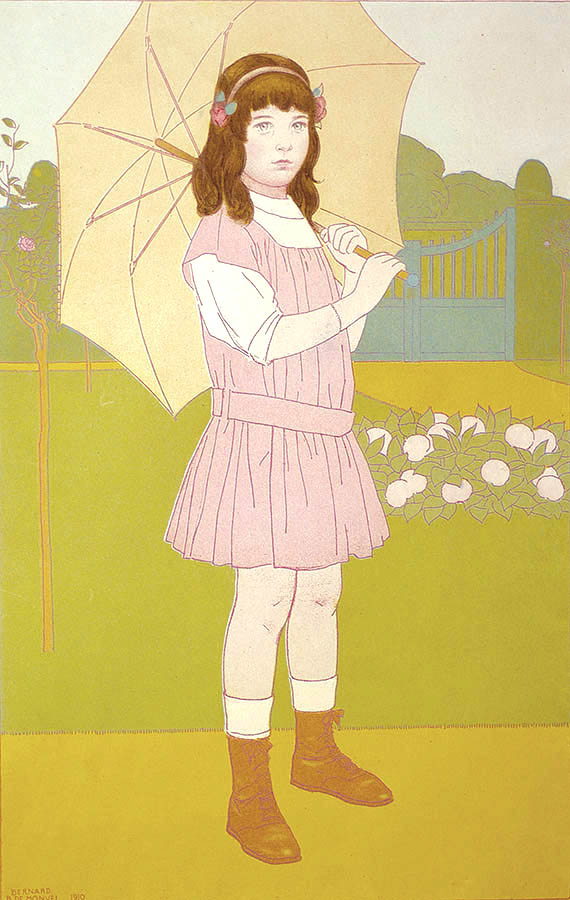 Young Lady with an Umbrella (Fillette à l'Ombrelle) - BERNARD BOUTET DE MONVEL - etching and aquatint printed in colors