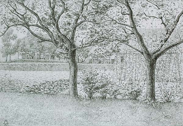 Garden in Laren (Tuin in Laren) - SIMON MOULIJN - lithograph