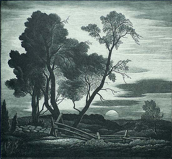 Near Lyme, Sunset - THOMAS NASON - wood engraving