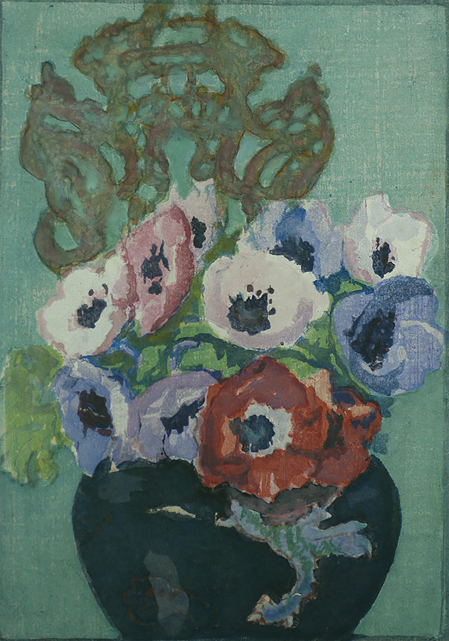 Anemones - MARGARET PATTERSON - woodcut printed in colors