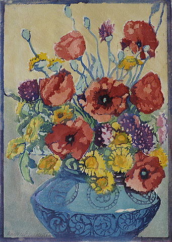 Flanders Poppies - MARGARET PATTERSON - woodcut printed in colors