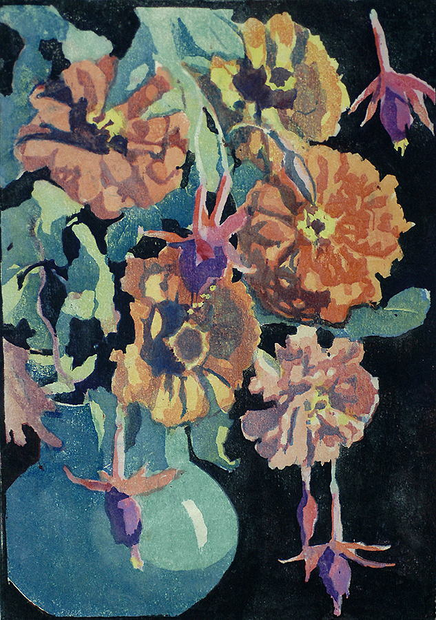Summer Flowers - MARGARET PATTERSON - woodcut printed in colors