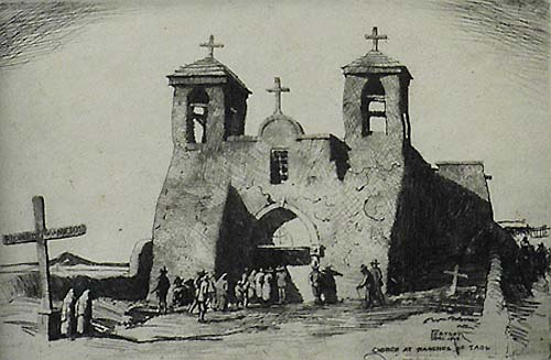Church at Ranchos de Taos - RALPH PEARSON - etching