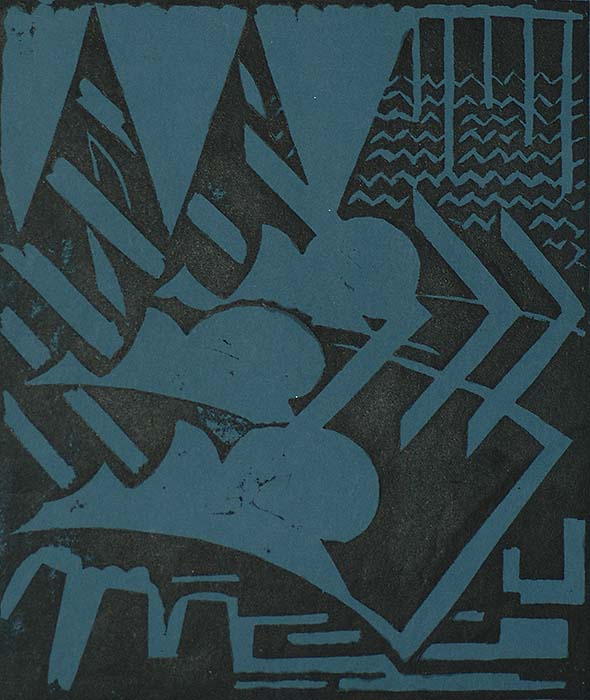 Geometric Abstraction - JOZEF PEETERS - linocut on blue paper