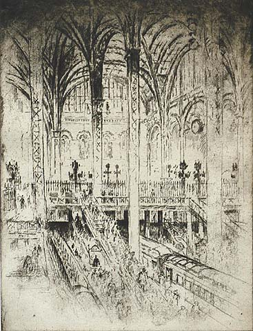 Down to the Trains, Pennsylvania Station, New York - JOSEPH PENNELL - etching