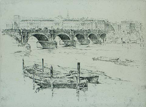 Waterloo Bridge and Somerset House - JOSEPH PENNELL - etching