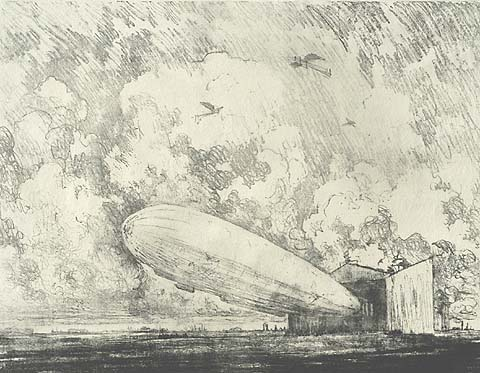 The Zeppelin Starts, No. 1 - JOSEPH PENNELL - lithograph