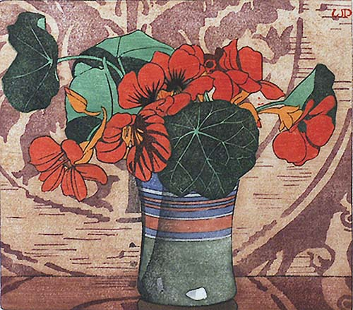 Nasturtiums - WALTER J. PHILLIPS - woodcut printed in colors