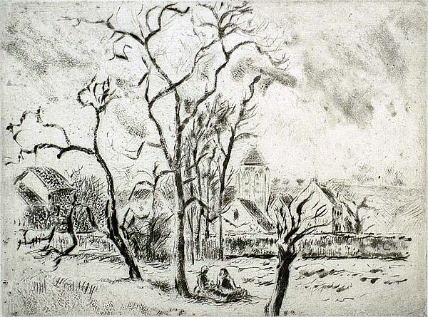 Eglise d'Osny, Pres Pontoise - CAMILLE PISSARRO - etching, drypoint and aquatint