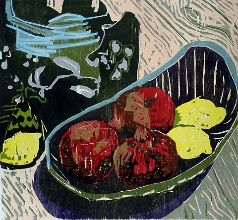 Plate with Pomegranates -   - woodcut printed in colors