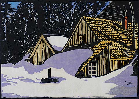 Snowed In - Calaveras Big Tree Hotel - WILLIAM S. RICE - woodcut printed in colors