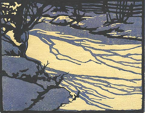 Shadows on Ice - WILLIAM S. RICE - woodcut printed in colors