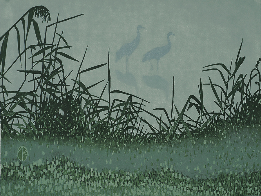 Cranes in Mist - ANDREA RICH - woodcut printed in colors