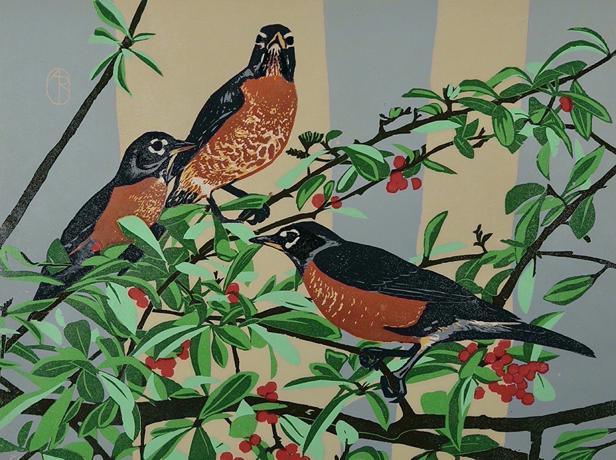 Robins - ANDREA RICH - woodcut printed in colors