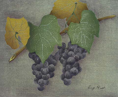 Two Bunches of Grapes - LUIGI RIST - woodcut