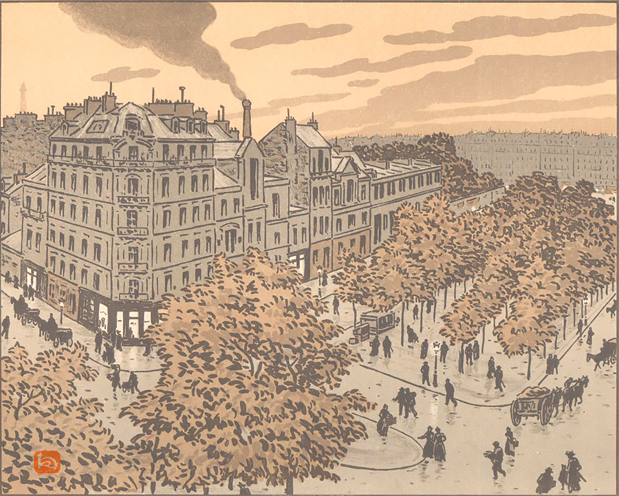 Du Boulavard de Clichy (From the Boulevard de Clichy) - HENRI RIVIERE - lithograph printed in colors