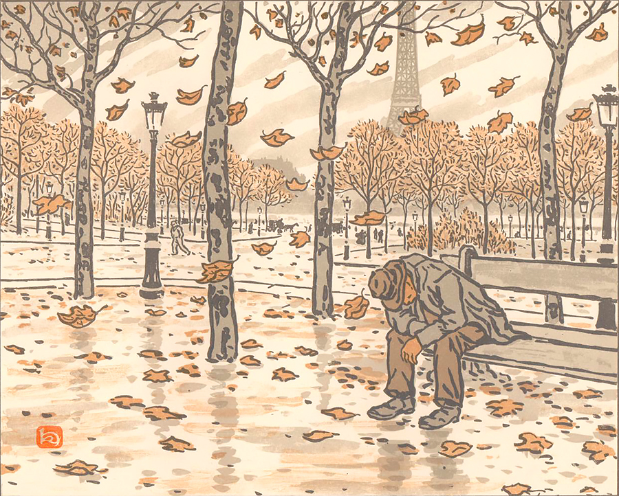 Des Jardins du Trocadéro, l'automne (From the Gardens of the Trocadéro, Autumn) - HENRI RIVIERE - lithograph printed in colors