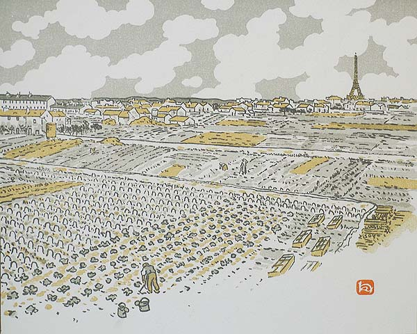 Des Jardins Maraichers de Grenelle (From the Vegetable Gardens at Grenelle) - HENRI RIVIERE - lithograph printed in colors