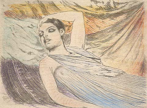 The Sleeping Model (also called, The Sleeper) - THEODORE ROUSSEL - etching and drypoint with added color pencil work