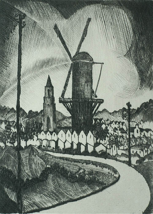 The Mill (Le Moulin) - LODEWIJK SCHELFHOUT - drypoint