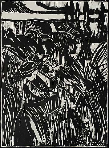 La Moisson (The Harvest) - PIERRE SCOUPREMAN - woodcut