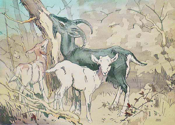 Goat With Two Kids - ALLEN W. SEABY - woodcut printed in colors