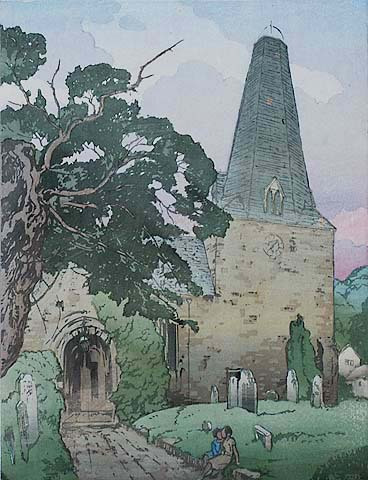 Porlock Church  - ALLEN W. SEABY - woodcut printed in colors