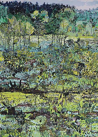 Spring Landscape -   - woodcut printed in colors