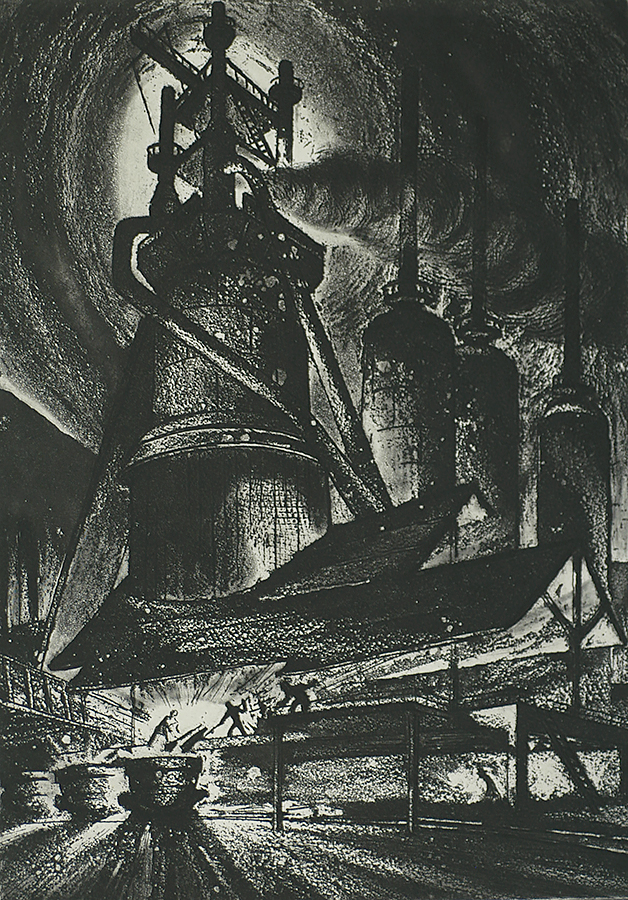 Blast Furnace - HARRY STERNBERG - etching and aquatint