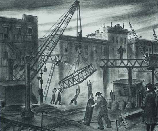 Removal of the 2nd Avenue El (New York) - JULIUS TANZER - lithograph