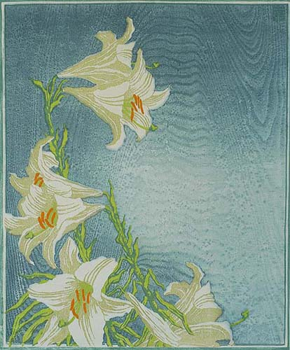 Lilies (Lilien) - CARL THIEMANN - woodcut printed in colors