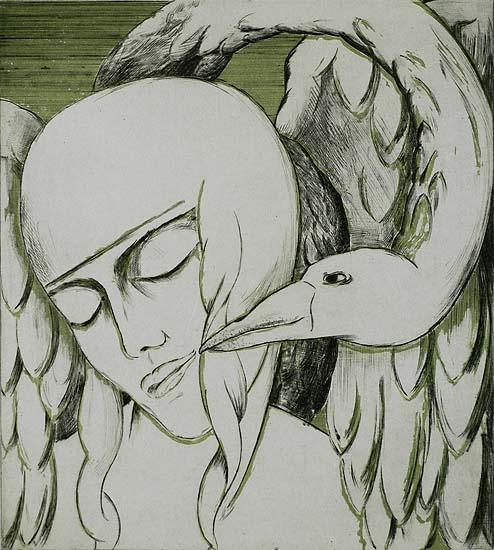 Leda and the Swan - EMILE-HENRI TIELEMANS - drypoint printed in color
