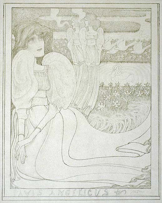 Panis Angelicus  - JAN TOOROP - lithograph printed in subtle gray-green ink with additional work in pencil